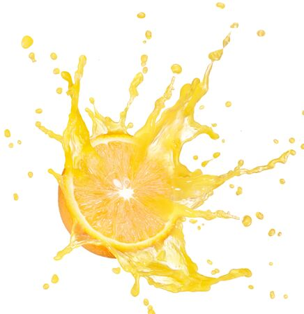 Orange half citrus juice spray white background .