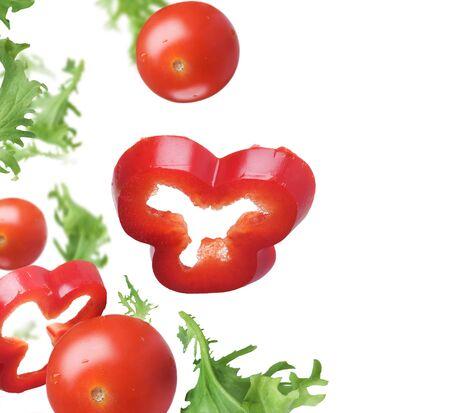 Vegetables greens tomato pepper white background .