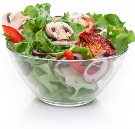 Salad mushrooms vegetables onion pepper salad white background .