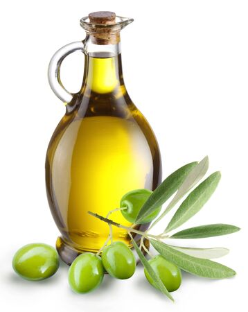 Olive sprig with leaf bottle oil white background . Imagens