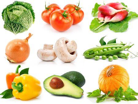 vegetables set on white background.