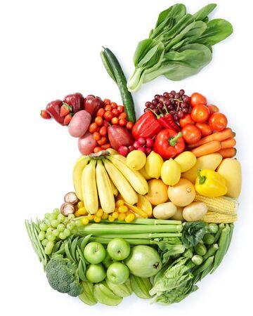 Warzywa owoce w postaci jabłka banany papryka kapusta cytrynowa na białym tle.
