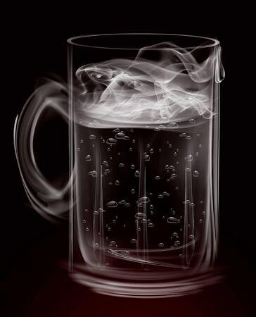 Glass vapor mug smoke on a black background .