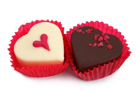 Cake dessert muffin hearts chocolate white background . Stock Photo