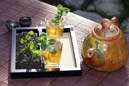 Tea green leafmint kettle tray
