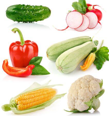 Cucumber set vegetables radish courgette pepper corn . Stockfoto