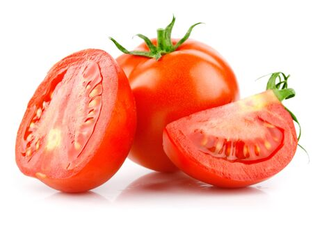 Tomatoes half slice of vegetables white background . 스톡 콘텐츠