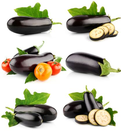 Eggplant set tomatoes vegetable circles on a white background .