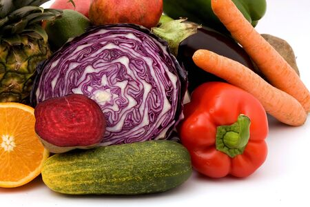 Cabbage purple set of vegetables carrot cucumber cucumber white background . Stockfoto