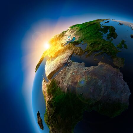 Planet Earth Space Sun Blue Background . Фото со стока