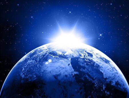 Planet Earth Space Stars Blue Background . Фото со стока