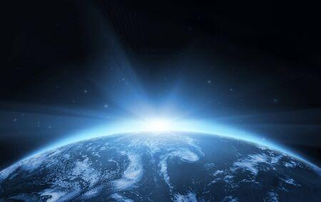 Planet Earth Space Hellblauer Hintergrund. Standard-Bild
