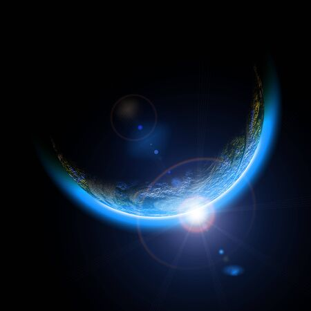 Space Planet Earth flash glare black background .