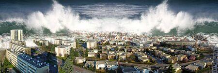 Fale oceanu tsunami zalewają domy miejskie.