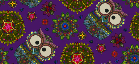 mandala: Hand drawn Mandala and ornamental owl seamless pattern, Floral Design Element on dark violet backgraund