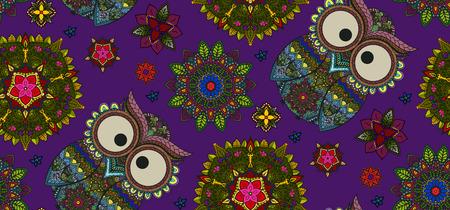 seamless pattern floral: Hand drawn Mandala and ornamental owl seamless pattern, Floral Design Element on dark violet backgraund
