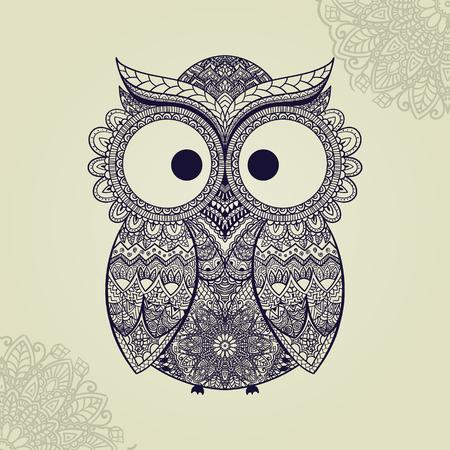 ilustracion: Ilustración del vector del búho. Pájaro ilustra en tribal.Owl poco con flores sobre fondo claro. Formado y ornamental búho.