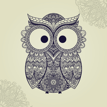 owl illustration: Vector illustration of owl. Bird illustrated in tribal.Owl whith flowers on light background. Shaped and ornamental owl. Illustration