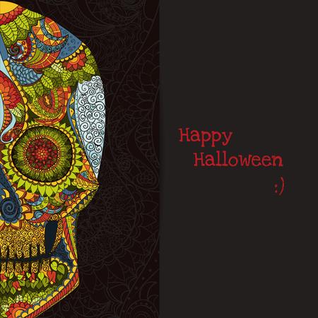 dia de muertos: Dia de los Muertos. Dibujado a mano Cr�neo ornamentrd con flores en el vector. Vectores