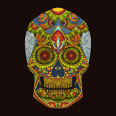 the dead: Day Of The Dead. Hand Drawn Skull ornamentrd vector flowers on dark