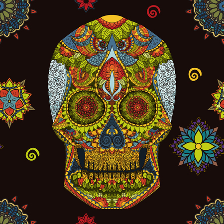 Day Of The Dead. Hand Drawn Skull ornamentrd vector flowers on dark