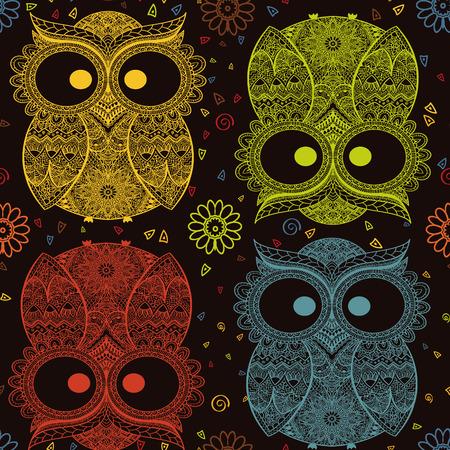 sowa: Ilustracji wektorowych Sowa. Przedstawiono na tribal.Owl ptak kwiaty pokojowe na ciemnym tle. Kolorowe i ozdobne Sowa.
