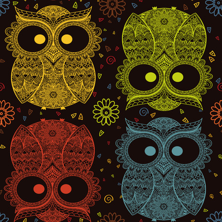 Vector illustration of owl. Bird illustrated in tribal.Owl whith flowers on dark background. Colored and ornamental owl.