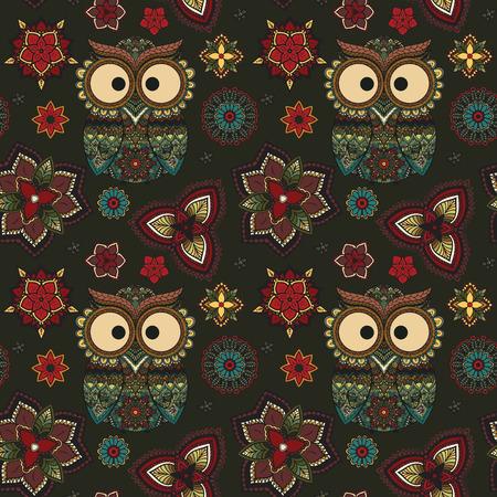 tribales: Ilustración del vector del búho. Pájaro ilustra en tribal.Owl poco con flores sobre fondo oscuro. Color y ornamental, búho de color brillante. Vectores