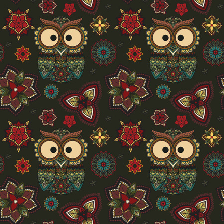 tribal art: Vector illustration of owl. Bird illustrated in tribal.Owl whith flowers on dark background. Colored and ornamental, bright colored owl.