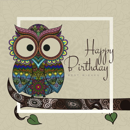 owl: Ornamental owl on the patterned background on light