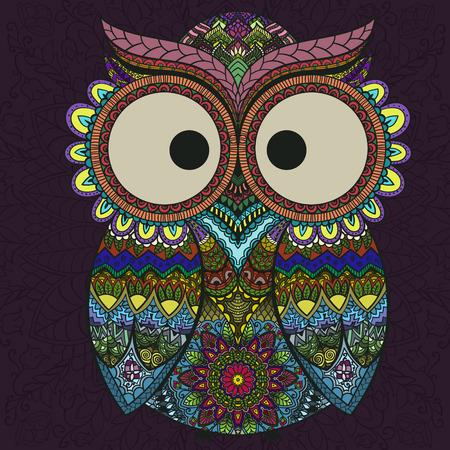 Ornamental indian owl on the patterned dark background. Illustration