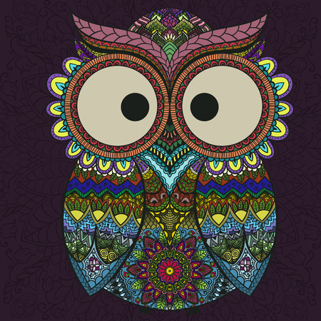owl symbol: Ornamental indian owl on the patterned dark background. Illustration
