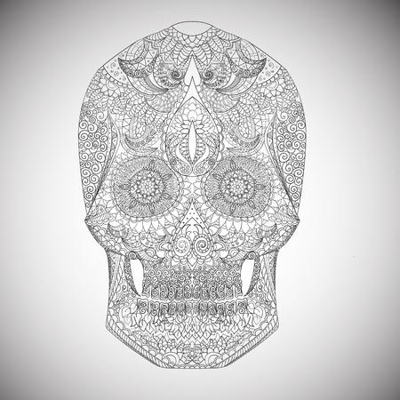 calavera: Dia de los Muertos. Dibujados a mano Cráneo ornamentrd vector flores en la luz Vectores