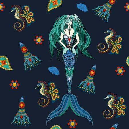 mermaid: Hand drawn Ornamental Mermaid, sea-horse and calmar.  Fairy-tale vector character of mermaid. Doodle Mermaid. Seamless mermaid pattern on dark. Illustration