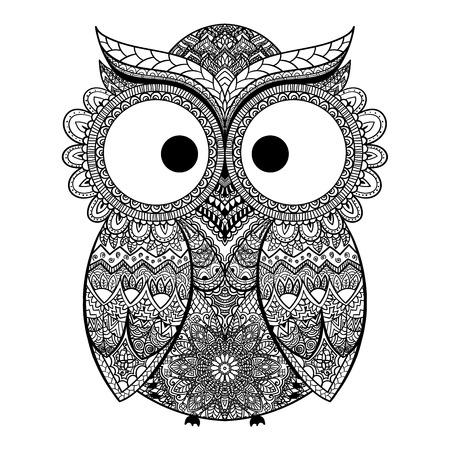 Vector illustratie van de uil. Vogel geïllustreerd in tribal.Owl whith bloemen op lichte achtergrond. Stock Illustratie