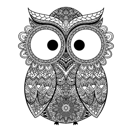 Vector illustration of owl. Bird illustrated in tribal.Owl whith flowers on light background.