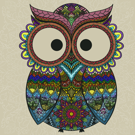 Vector illustration of owl. Bird illustrated in tribal.Owl whith flowers on light background. Shaped and ornamental owl. Vettoriali