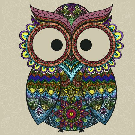 buhos: Ilustración del vector del búho. Pájaro ilustra en tribal.Owl poco con flores sobre fondo claro. Formado y ornamental búho.