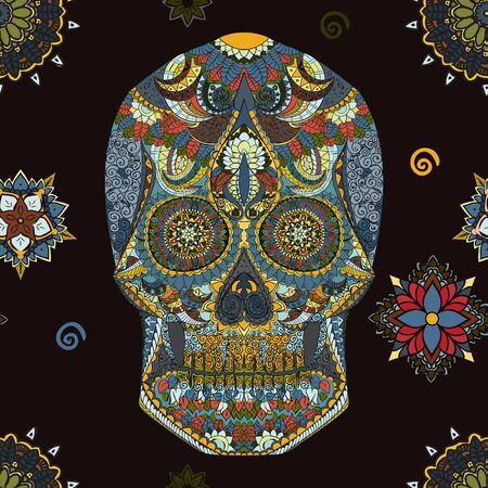 halloween skeleton: Day Of The Dead. Hand Drawn Skull ornamentrd vector flowers on dark