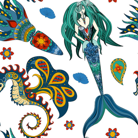 sea nymph: Hand drawn Ornamental Mermaid, sea-horse and calmar.  Fairy-tale vector character of mermaid. Doodle Mermaid. Illustration