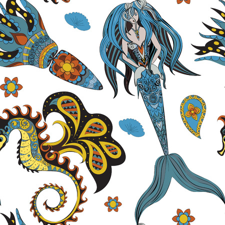 mermaid: Hand drawn Ornamental Mermaid, sea-horse and calmar.  Fairy-tale vector character of mermaid. Doodle Mermaid. Seamless mermaid pattern on white. Illustration