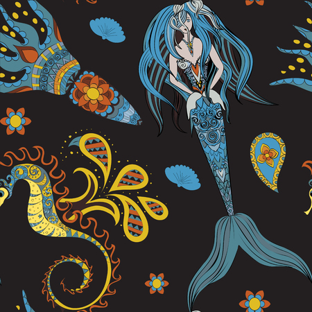 mermaid: Hand drawn Ornamental Mermaid, sea-horse and calmar.  Fairy-tale vector character of mermaid. Doodle Mermaid. Seamless mermaid pattern on dark. Illustration
