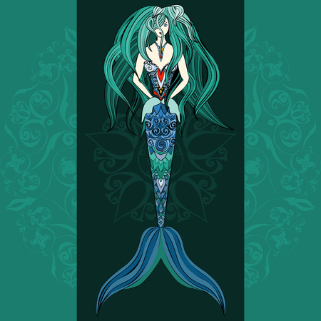 mermaid: Hand drawn Ornamental Mermaid.  Fairy-tale vector character of mermaid. Doodle Mermaid.