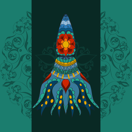 calmar: Hand drawn Ornamental calmar.  Fairy-tale vector character of calmar on patterned backgraund.