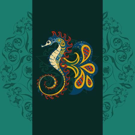 beach sea: Hand drawn Ornamental sea-horse .  Fairy-tale vector character of sea-horse . Doodle sea-horse. Illustration