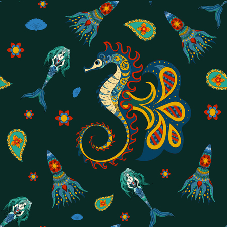 beach sea: Hand drawn Ornamental Mermaid, sea-horse and calmar.  Fairy-tale vector character of sea-horse. Doodle sea-horse. Seamless sea-horse pattern on dark.