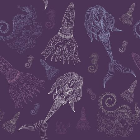sea nymph: Hand drawn Ornamental Mermaid, sea-horse and calmar.  Fairy-tale vector character of mermaid. Doodle Mermaid. Illustration