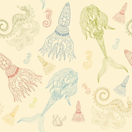 calmar: Hand drawn Ornamental Mermaid, sea-horse and calmar.  Fairy-tale vector character of mermaid. Doodle Mermaid. Illustration
