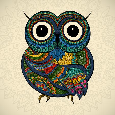 フクロウのベクター イラストです。鳥は、部族に示されています。明るい背景にフクロウ whith 花。観賞用と形のフクロウ。  イラスト・ベクター素材