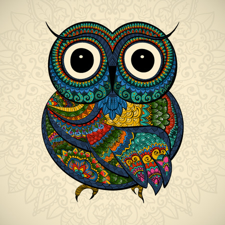 Vector illustration of owl. Bird illustrated in tribal.Owl whith flowers on light background. Shaped and ornamental owl. Иллюстрация